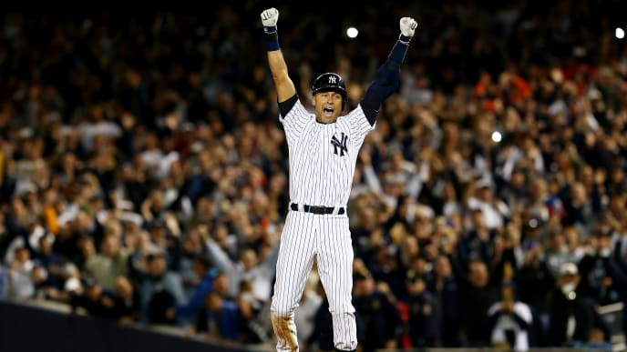 NEW YORK, NY - SEPTEMBER 25:  Derek Jeter #2 of the New York Yankees celebrates after a game winning RBI hit in the ninth inning against the Baltimore Orioles in his last game ever at Yankee Stadium on September 25, 2014 in the Bronx borough of New York City.  (Photo by Elsa/Getty Images)
