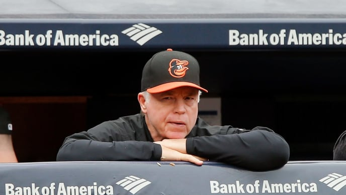 NEW YORK, NY - SEPTEMBER 23:  Manager Buck Showalter #26 of the Baltimore Orioles in action against the New York Yankees at Yankee Stadium on September 23, 2018 in the Bronx borough of New York City. The Orioles defeated the Yankees 6-3.  (Photo by Jim McIsaac/Getty Images)