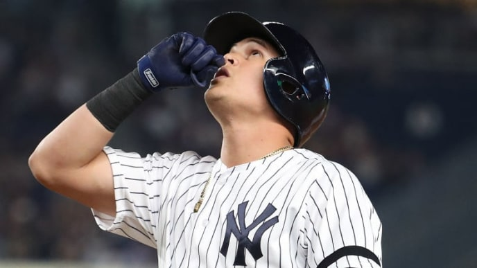 NEW YORK, NEW YORK - AUGUST 11:  Gio Urshela #29 of the New York Yankees celebrates after driving in a run with a single in the fourth inning against the Baltimore Orioles during their game at Yankee Stadium on August 11, 2019 in New York City. (Photo by Al Bello/Getty Images)