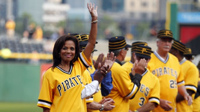PITTSBURGH, PA - MAY 21:  Margaret Stargell, wife of the late Willie Stargell of the 1979 World Champion Pittsburgh Pirates, waves during introductions before interleague play between the Pittsburgh Pirates and the Baltimore Orioles at PNC Park May 21, 2014 in Pittsburgh, Pennsylvania.  (Photo by Justin K. Aller/Getty Images)