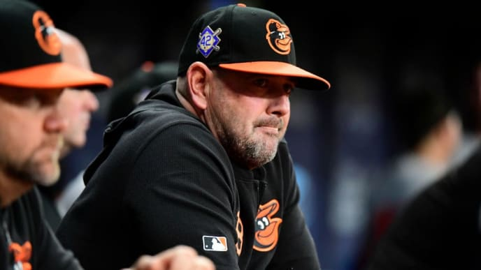 ST. PETERSBURG, FLORIDA - APRIL 16: Manager Brandon Hyde #18 of the Baltimore Orioles watches the action during the seventh inning against the Tampa Bay Rays Tropicana Field on April 16, 2019 in St. Petersburg, Florida. (Photo by Julio Aguilar/Getty Images)