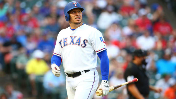 ARLINGTON, TX - JUNE 04:  Asdrubal Cabrera #14 of the Texas Rangers reacts walking to dugout in the second inning against the Baltimore Orioles at Globe Life Park in Arlington on June 4, 2019 in Arlington, Texas. (Photo by Rick Yeatts/Getty Images)