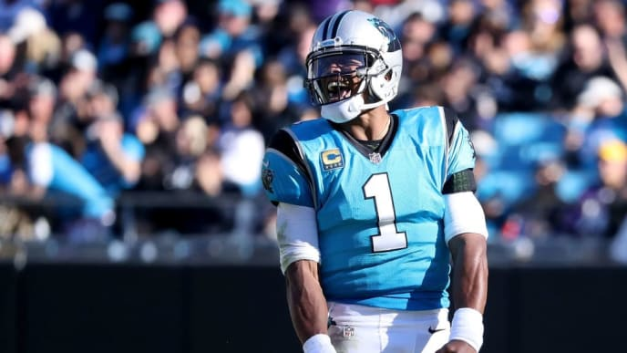 CHARLOTTE, NC - OCTOBER 28:  Cam Newton #1 of the Carolina Panthers reacts against the Baltimore Ravens late in the fourth quarter during their game at Bank of America Stadium on October 28, 2018 in Charlotte, North Carolina.  (Photo by Streeter Lecka/Getty Images)