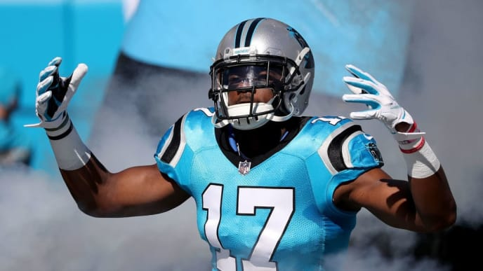 CHARLOTTE, NC - OCTOBER 28:  Devin Funchess #17 of the Carolina Panthers takes the field against the Baltimore Ravens at Bank of America Stadium on October 28, 2018 in Charlotte, North Carolina.  (Photo by Streeter Lecka/Getty Images)