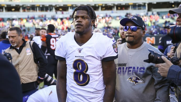 CINCINNATI, OHIO - NOVEMBER 10: Lamar Jackson #8 of the Baltimore Ravens walks on the field after the game against the Cincinnati Bengals at Paul Brown Stadium on November 10, 2019 in Cincinnati, Ohio. (Photo by Silas Walker/Getty Images)