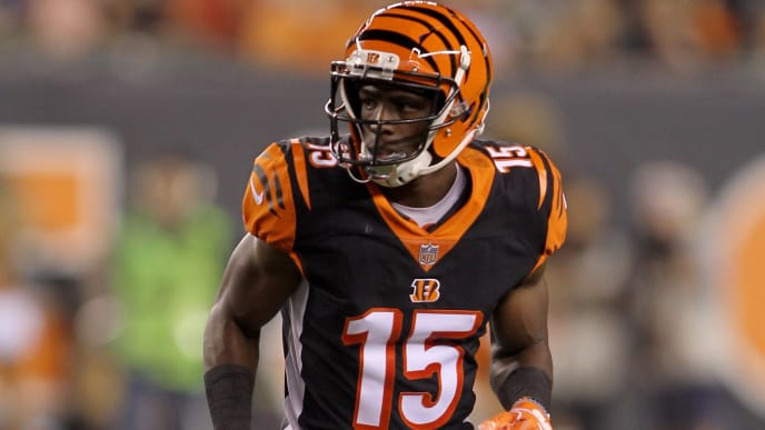 CINCINNATI, OH - SEPTEMBER 13:  John Ross #15 of the Cincinnati Bengals runs to the line of scrimmage during the game against the Baltimore Ravens at Paul Brown Stadium on September 13, 2018 in Cincinnati, Ohio. The Bengals defeated the Ravens 34-23.  (Photo by John Grieshop/Getty Images)