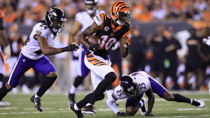 CINCINNATI, OH - SEPTEMBER 13:  A.J. Green #18 of the Cincinnati Bengals runs on his way to scoring a 32-yard receiving touchdown during the first quarter against the Baltimore Ravens at Paul Brown Stadium on September 13, 2018 in Cincinnati, Ohio.  (Photo by Andy Lyons/Getty Images)
