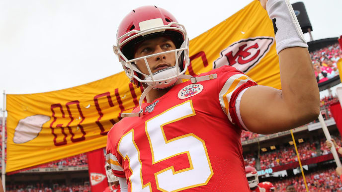 KANSAS CITY, MISSOURI - SEPTEMBER 22:  Quarterback Patrick Mahomes #15 of the Kansas City Chiefs runs onto the field during pre-game prior to the game against the Baltimore Ravens at Arrowhead Stadium on September 22, 2019 in Kansas City, Missouri.  (Photo by Jamie Squire/Getty Images)