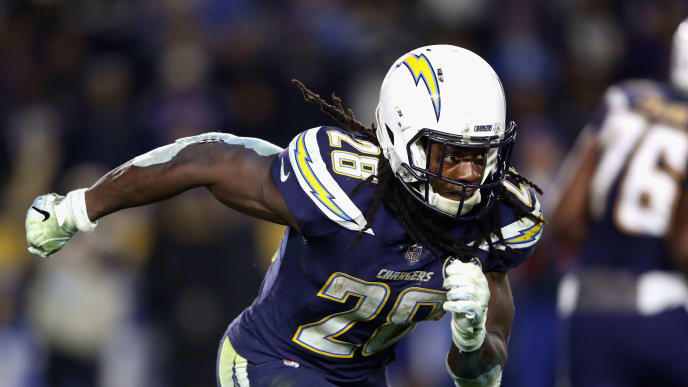 CARSON, CA - DECEMBER 22:  Melvin Gordon #28 of the Los Angeles Chargers runs on a pass play during the second half of a game against the Baltimore Ravens at StubHub Center on December 22, 2018 in Carson, California.  (Photo by Sean M. Haffey/Getty Images)
