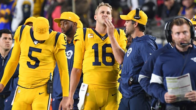 LOS ANGELES, CA - NOVEMBER 25: Jared Goff #16 of the Los Angeles Rams looks on from the sidelines duirng the fourth quarter of the game against the Baltimore Ravens at the Los Angeles Memorial Coliseum on November 25, 2019 in Los Angeles, California. (Photo by Jayne Kamin-Oncea/Getty Images)