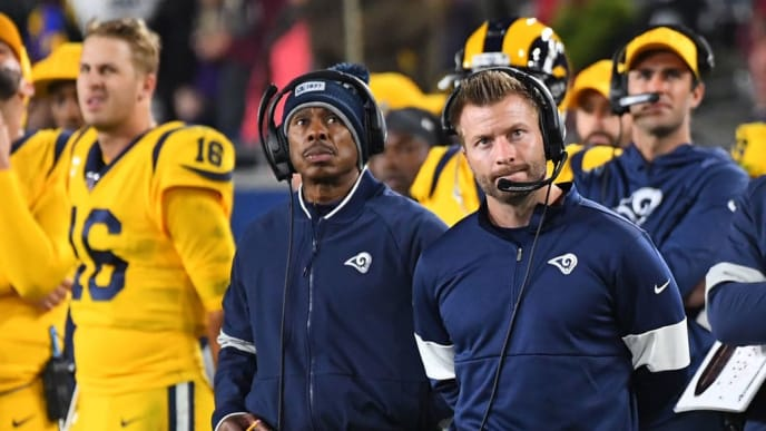 LOS ANGELES, CA - NOVEMBER 25: Head coach Sean McVay of the Los Angeles Rams looks on from the sidelines duirng the fourth quarter of the game against the Baltimore Ravens at the Los Angeles Memorial Coliseum on November 25, 2019 in Los Angeles, California. (Photo by Jayne Kamin-Oncea/Getty Images)