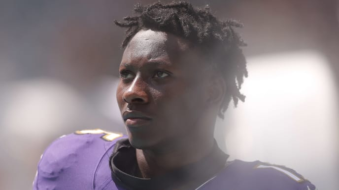 MIAMI, FLORIDA - SEPTEMBER 08:  Marquise Brown #15 of the Baltimore Ravens looks on against the Miami Dolphins at Hard Rock Stadium on September 08, 2019 in Miami, Florida. (Photo by Michael Reaves/Getty Images)