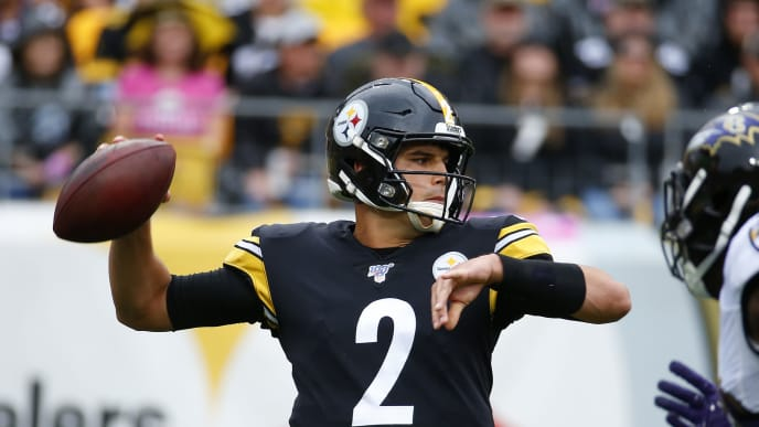PITTSBURGH, PA - OCTOBER 06:  Mason Rudolph #2 of the Pittsburgh Steelers drops back to pass against the Baltimore Ravens on October 6, 2019 at Heinz Field in Pittsburgh, Pennsylvania.  (Photo by Justin K. Aller/Getty Images)