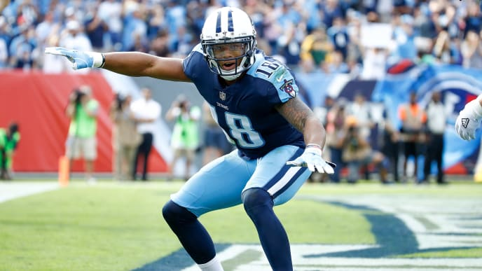 NASHVILLE, TN - NOVEMBER 05:  Rishard Matthews #18 of the Tennessee Titans celebrates after scoring a touchdown against the Baltimore Ravens during the first half at Nissan Stadium on November 5, 2017 in Nashville, Tennessee.  (Photo by Andy Lyons/Getty Images)