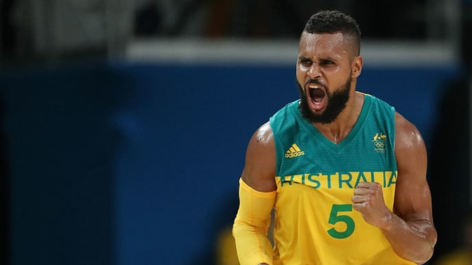 RIO DE JANEIRO, BRAZIL - AUGUST 21:  Patty Mills #5 of Australia celebrates a basket during the Men's Basketball Bronze medal game between Australia and Spain on Day 16 of the Rio 2016 Olympic Games at Carioca Arena 1 on August 21, 2016 in Rio de Janeiro, Brazil.  (Photo by Christian Petersen/Getty Images)