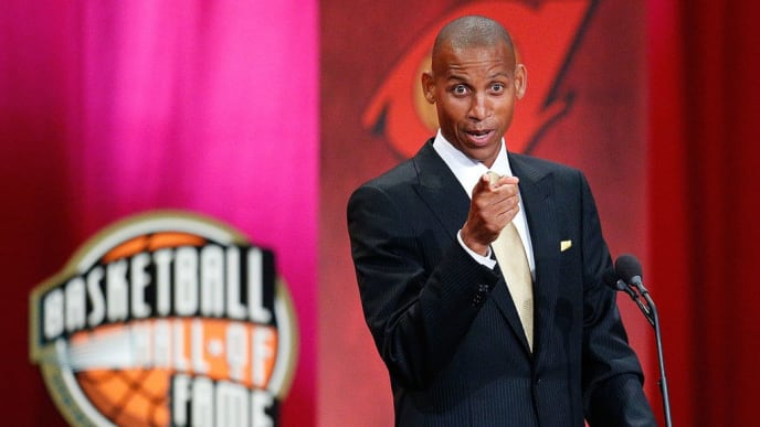 SPRINGFIELD, MA - SEPTEMBER 7:  Reggie Miller speaks during the Basketball Hall of Fame Enshrinement Ceremony at Symphony Hall on September 7, 2012 in Springfield, Massachusetts. (Photo by Jim Rogash/Getty Images)