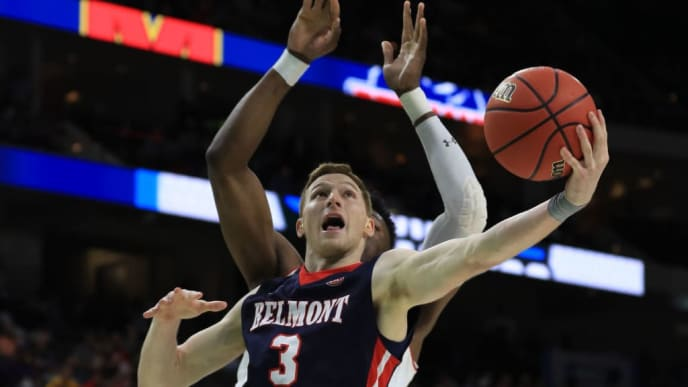 JACKSONVILLE, FLORIDA - MARCH 21:  Dylan Windler #3 of the Belmont Bruins takes a shot against Bruno Fernando #23 of the Maryland Terrapins in the second half during the first round of the 2019 NCAA Men's Basketball Tournament at VyStar Jacksonville Veterans Memorial Arena on March 21, 2019 in Jacksonville, Florida. (Photo by Mike Ehrmann/Getty Images)