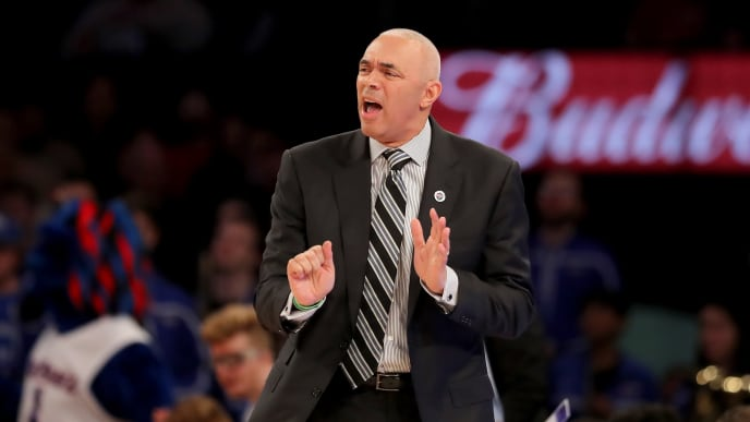 NEW YORK, NEW YORK - MARCH 13:  Head coach Dave Leitao of the DePaul Blue Demons reacts in the first half against the St. John's Red Storm during the first round of the Big East Tournament at Madison Square Garden on March 13, 2019 in New York City. (Photo by Elsa/Getty Images)