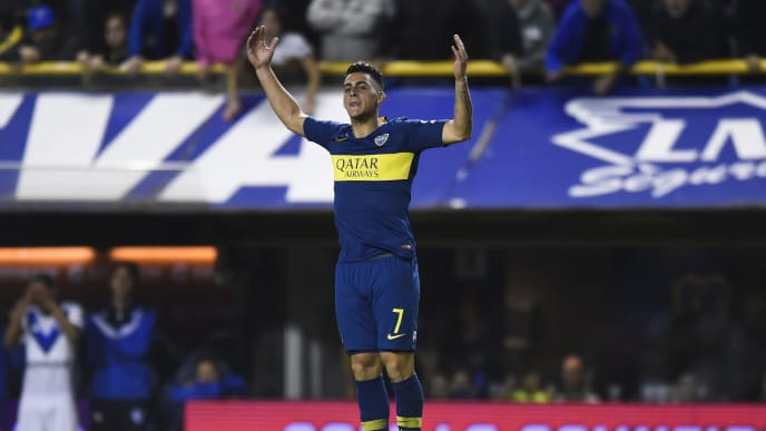BUENOS AIRES, ARGENTINA - MAY 16: Cristian Pavon of Boca Juniors celebrates after scoring the penalty during a shootout contest during the Copa de la Superliga 2019 Quarter Final second leg match between Boca Juniors and Velez Sarsfield at Estadio Alberto J. Armando on May 16, 2019 in Buenos Aires, Argentina. (Photo by Marcelo Endelli/Getty Images)
