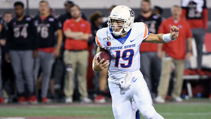 LAS VEGAS, NEVADA - OCTOBER 05:  Quarterback Hank Bachmeier #19 of the Boise State Broncos runs for a 6-yard gain against the UNLV Rebels during their game at Sam Boyd Stadium on October 5, 2019 in Las Vegas, Nevada.  (Photo by Ethan Miller/Getty Images)