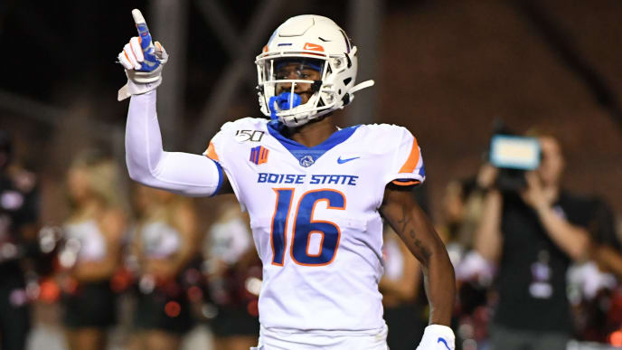LAS VEGAS, NEVADA - OCTOBER 05:  Wide receiver John Hightower #16 of the Boise State Broncos celebrates in the end zone after scoring a 76-yard touchdown against the UNLV Rebels during their game at Sam Boyd Stadium on October 5, 2019 in Las Vegas, Nevada. The Broncos defeated the Rebels 38-13.  (Photo by Ethan Miller/Getty Images)