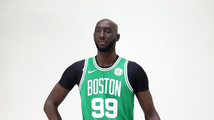 CANTON, MASSACHUSETTS - SEPTEMBER 30: Tacko Fall #99 poses for a photo during Celtics Media Day at High Output Studios on September 30, 2019 in Canton, Massachusetts. (Photo by Maddie Meyer/Getty Images)