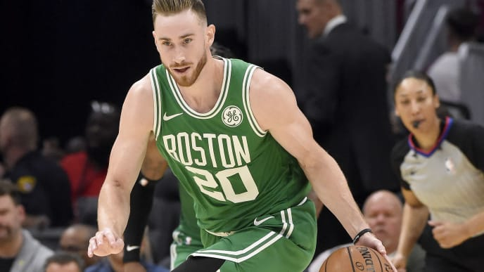 CLEVELAND, OHIO - NOVEMBER 05: Gordon Hayward #20 of the Boston Celtics drives down court during the second half against the Cleveland Cavaliers at Rocket Mortgage Fieldhouse on November 05, 2019 in Cleveland, Ohio. The Celtics defeated the Cavaliers 119-113. NOTE TO USER: User expressly acknowledges and agrees that, by downloading and/or using this photograph, user is consenting to the terms and conditions of the Getty Images License Agreement. (Photo by Jason Miller/Getty Images)