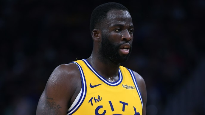 SAN FRANCISCO, CALIFORNIA - NOVEMBER 15: Draymond Green #23 of the Golden State Warriors looks on against the Boston Celtics during the second half of an NBA basketball game at Chase Center on November 15, 2019 in San Francisco, California. NOTE TO USER: User expressly acknowledges and agrees that, by downloading and or using this photograph, User is consenting to the terms and conditions of the Getty Images License Agreement. (Photo by Thearon W. Henderson/Getty Images)