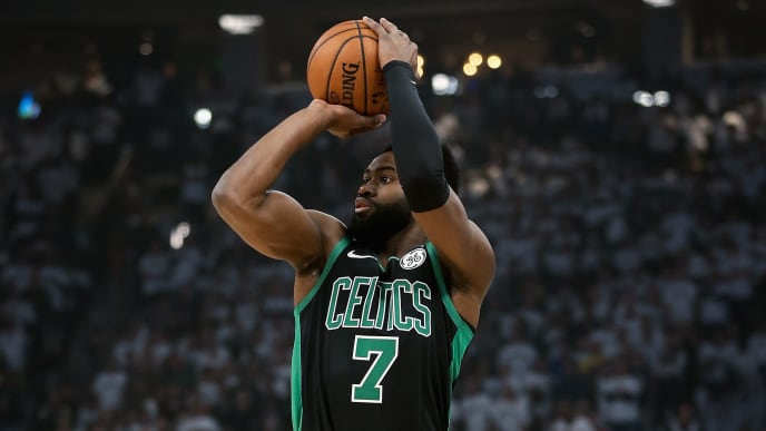 MILWAUKEE, WISCONSIN - APRIL 28:  Jaylen Brown #7 of the Boston Celtics attempts a shot in the first quarter against the Milwaukee Bucks during Game One of Round Two of the 2019 NBA Playoffs at the Fiserv Forum on April 28, 2019 in Milwaukee, Wisconsin. NOTE TO USER: User expressly acknowledges and agrees that, by downloading and or using this photograph, User is consenting to the terms and conditions of the Getty Images License Agreement. (Photo by Dylan Buell/Getty Images)