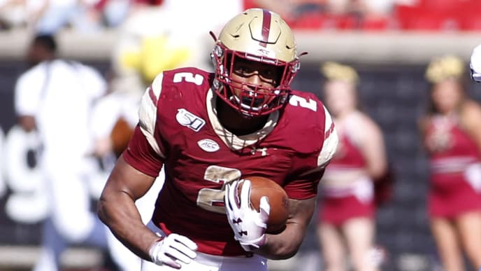 LOUISVILLE, KENTUCKY - OCTOBER 05: AJ Dillon #2 of the Boston College Eagles runs the ball in the game against the Louisville Cardinals at Cardinal Stadium on October 05, 2019 in Louisville, Kentucky. (Photo by Justin Casterline/Getty Images)