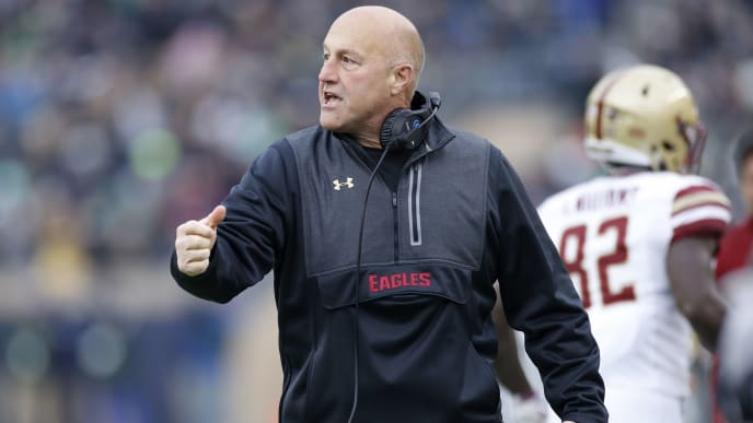 SOUTH BEND, IN - NOVEMBER 23: Head coach Steve Addazio of the Boston College Eagles reacts in the second quarter against the Notre Dame Fighting Irish at Notre Dame Stadium on November 23, 2019 in South Bend, Indiana. (Photo by Joe Robbins/Getty Images)