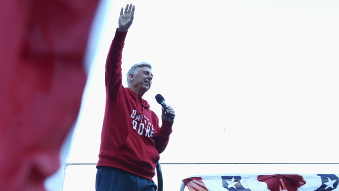 BOSTON, MA - OCTOBER 31:  Red Sox General Manager Dave Dombrowski address fans at Fenway Park before the Boston Red Sox Victory Parade on October 31, 2018 in Boston, Massachusetts. The Boston Red Sox defeated the Los Angeles Dodgers to win the 2018 World Series. (Photo by Omar Rawlings/Getty Images)
