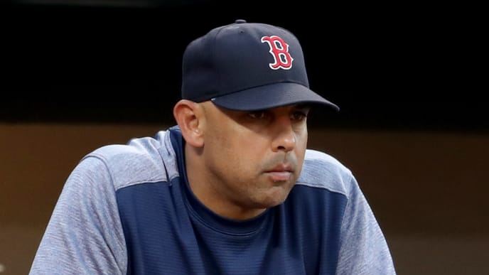 BALTIMORE, MARYLAND - JULY 19: Boston Red Sox manager Alex Cora looks on against the Baltimore Orioles at Oriole Park at Camden Yards on July 19, 2019 in Baltimore, Maryland. (Photo by Rob Carr/Getty Images)