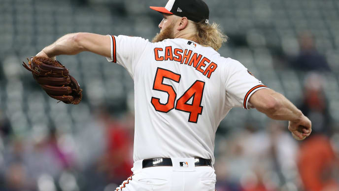 BALTIMORE, MARYLAND - MAY 08: Andrew Cashner #54 of the Baltimore Orioles pitches against the Boston Red Sox at Oriole Park at Camden Yards on May 08, 2019 in Baltimore, Maryland. (Photo by Patrick Smith/Getty Images)
