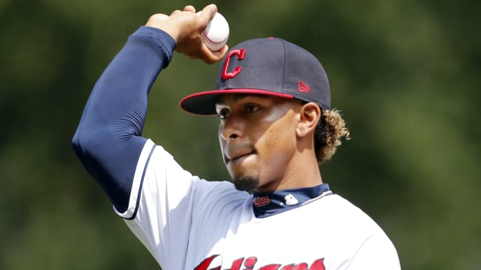 CLEVELAND, OH - AUGUST 14: Francisco Lindor #12  of the Cleveland Indians warms up before the game against the Boston Red Sox at Progressive Field on August 14, 2019 in Cleveland, Ohio. The Red Sox defeated the Indians 5-1.  (Photo by David Maxwell/Getty Images)