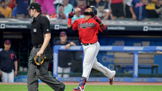 CLEVELAND, OHIO - AUGUST 13: Carlos Santana #41 of the Cleveland Indians celebrates as he runs out a solo homer during the fourth inning against the Boston Red Sox at Progressive Field on August 13, 2019 in Cleveland, Ohio. (Photo by Jason Miller/Getty Images)