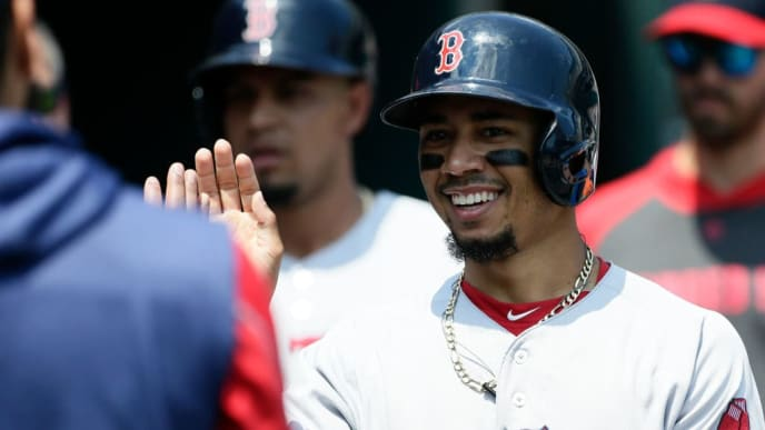 DETROIT, MI - JULY 7:  Mookie Betts #50 of the Boston Red Sox smiles after scoring against the Detroit Tigers on a double by Xander Bogaerts during the fifth inning at Comerica Park on July 7, 2019 in Detroit, Michigan. (Photo by Duane Burleson/Getty Images)