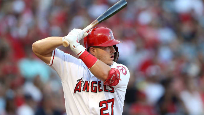 ANAHEIM, CALIFORNIA - AUGUST 31:  Mike Trout #27 of the Los Angeles Angels of Anaheim at bat during a game against the Boston Red Sox at Angel Stadium of Anaheim on August 31, 2019 in Anaheim, California. (Photo by Sean M. Haffey/Getty Images)
