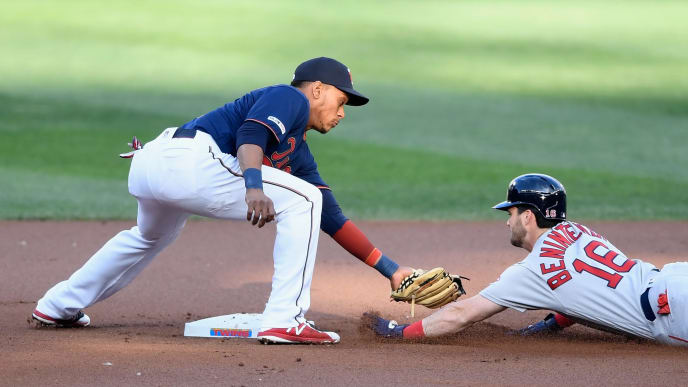 MINNEAPOLIS, MN - JUNE 17: Andrew Benintendi #16 of the Boston Red Sox is out at second base as Jorge Polanco #11 of the Minnesota Twins applies the tag during the first inning of the game on June 17, 2019 at Target Field in Minneapolis, Minnesota. (Photo by Hannah Foslien/Getty Images)
