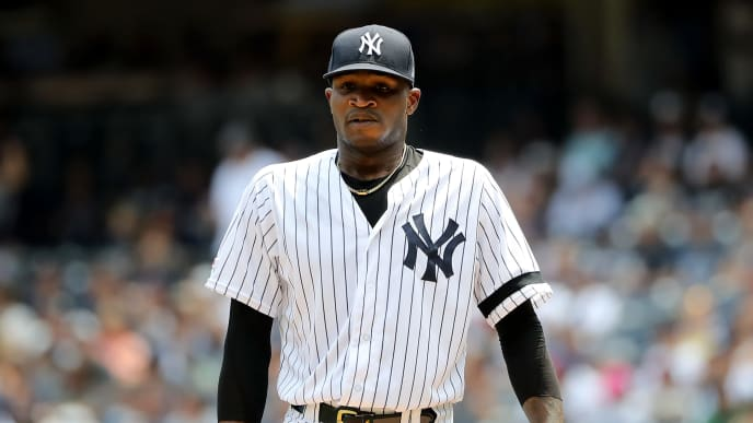 NEW YORK, NEW YORK - AUGUST 03: Domingo German #55 of the New York Yankees gets ready to pitch in the first inning against the Boston Red Sox during game one of a double header at Yankee Stadium on August 03, 2019 in the Bronx borough of New York City. (Photo by Elsa/Getty Images)