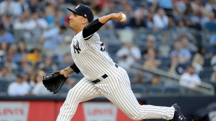 NEW YORK, NEW YORK - AUGUST 03:  Nestor Cortes Jr. #67 of the New York Yankees delivers a pitch in the second inning against the Boston Red Sox during game two of a double header at Yankee Stadium on August 03, 2019 in New York City. (Photo by Elsa/Getty Images)