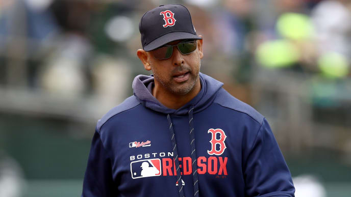 OAKLAND, CALIFORNIA - APRIL 04:  Manager Alex Cora of the Boston Red Sox reacts to a call during their game against the Oakland Athletics at Oakland-Alameda County Coliseum on April 04, 2019 in Oakland, California. (Photo by Ezra Shaw/Getty Images)