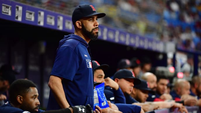 ST PETERSBURG, FLORIDA - SEPTEMBER 20: David Price #10 of the Boston Red Sox looks on during a game against the Tampa Bay Rays at Tropicana Field on September 20, 2019 in St Petersburg, Florida. (Photo by Julio Aguilar/Getty Images)