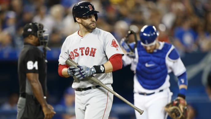 TORONTO, ON - SEPTEMBER 11: J.D. Martinez #28 of the Boston Red Sox reacts as he is called out during the second inning of their MLB game against the Toronto Blue Jays at Rogers Centre on September 11, 2019 in Toronto, Canada. (Photo by Cole Burston/Getty Images)