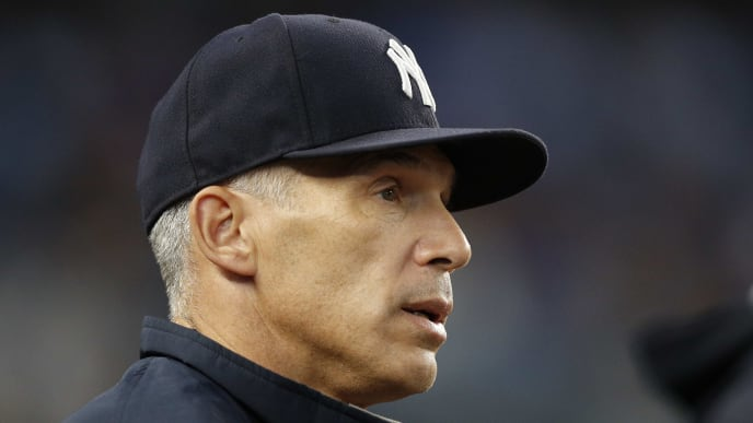 NEW YORK, NY - AUGUST 31:  Manager Joe Girardi stands at the top of the dugout steps to question a call in an MLB baseball game against the New York Yankees on August 31, 2017 at Yankee Stadium in the Bronx borough of New York City. Yankees won 6-2. (Photo by Paul Bereswill/Getty Images)