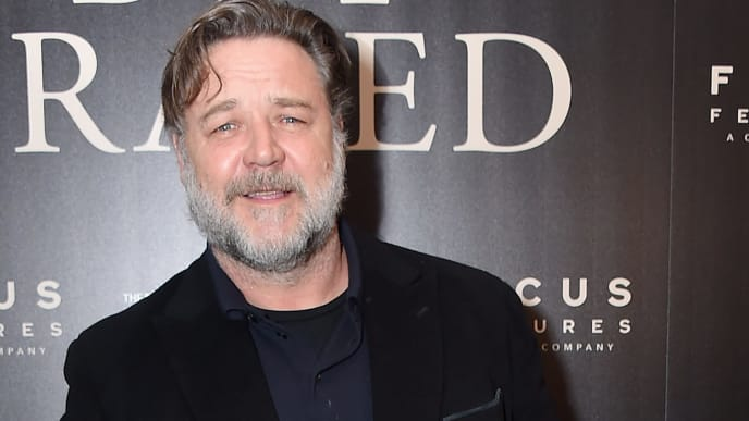 "NEW YORK, NY - OCTOBER 22:  Actor Russell Crowe attends the New York screening of ""Boy Erased"" at the Whitby Hotel on October 22, 2018 in New York City.  (Photo by Michael Loccisano/Getty Images)"