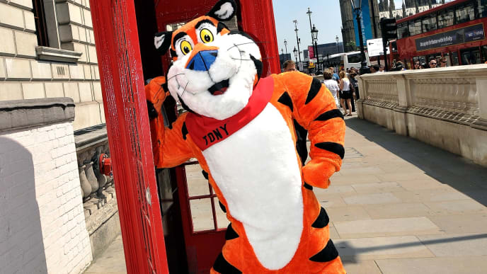 LONDON, ENGLAND - JULY 25:  Tony the Tiger phones Battle Creek, Michigan infront of Big Ben as part of Kellogg's From Great Starts Come Great Things campaign on July 25, 2012 in London, England.  (Photo by Getty Images/Getty Images for Kellogg's)