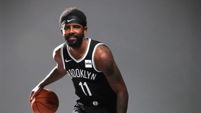 NEW YORK, NEW YORK - SEPTEMBER 27:  Kyrie Irving #11 of the Brooklyn Nets poses for a portrait during Media Day at HSS Training Center on September 27, 2019 in New York City. (Photo by Al Bello/Getty Images)
