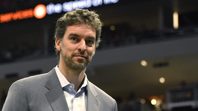 MILWAUKEE, WISCONSIN - APRIL 06:  Pau Gasol #17 of the Milwaukee Bucks looks on in the second half against the Brooklyn Nets at Fiserv Forum on April 06, 2019 in Milwaukee, Wisconsin.  NOTE TO USER: User expressly acknowledges and agrees that, by downloading and or using this photograph, User is consenting to the terms and conditions of the Getty Images License Agreement.  (Photo by Quinn Harris/Getty Images)