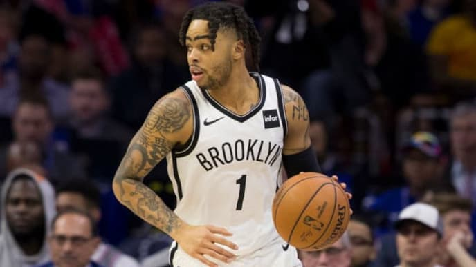 PHILADELPHIA, PA - APRIL 23: D'Angelo Russell #1 of the Brooklyn Nets dribbles the ball against the Philadelphia 76ers in Game Five of Round One of the 2019 NBA Playoffs at the Wells Fargo Center on April 23, 2019 in Philadelphia, Pennsylvania. NOTE TO USER: User expressly acknowledges and agrees that, by downloading and or using this photograph, User is consenting to the terms and conditions of the Getty Images License Agreement. (Photo by Mitchell Leff/Getty Images)